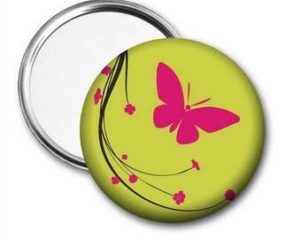 Pink Butterfly Pocket Mirror, Butterfly Mirror