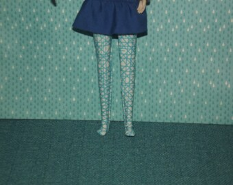 Blue and white stripes leggings tights for Pullip doll
