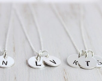 simple dainty handstamped everyday initial necklace   sterling silver custom stamped jewelry   gift fo her   bridesmaid gift