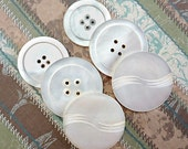 Six Large Mother of Pearl Vintage Sewing Buttons