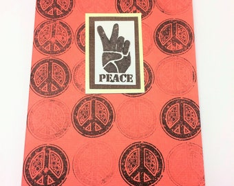 Peace sign peace hand note card in watermelon red
