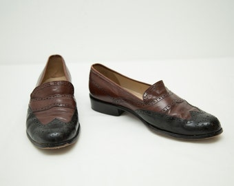 Vintage Enzo Angiolini Brown and Black Leather Loafers - Women's size 8M