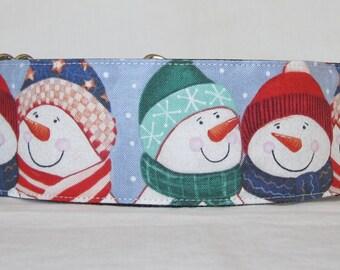 Snowmen Friends Martingale Dog Collar - 1.5 or 2 Inch - snow scarf holiday winter fun folk love