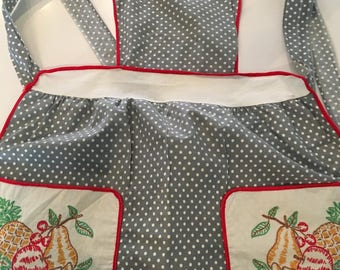 Child's Full Apron Vintage Handmade 1940 Gray White Red Polka Dot Embroidered Fruit