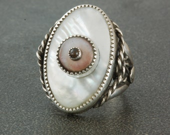 Vintage Mother of Pearl Button Ring with Quartz Stone