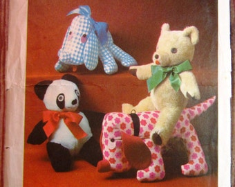 Vintage 1970s Set of Stuffed Animals Toys: Dog, Teddy Bear and Panda Simplicity Pattern 8908 Mostly Uncut/Complete