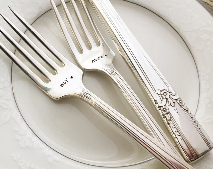 """mr & mrs. Hand stamped """"artistic"""" forks and cake server, with date on handle"""