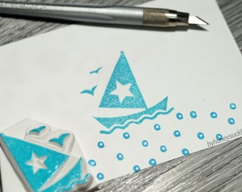 sailing boat stamp, sailing nautical ship stamp, ship rubber stamp, summer time, summer stamp, holiday greeting, father's day card, ocean