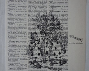 Alice in Wonderland - The Playing Cards print on vintage dictionnary page