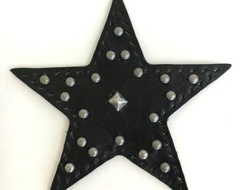 Studded Leather Star Jacket/Bag Patch