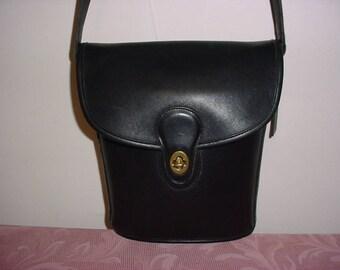 Sale  Rare Vintage Coach black leather Cross body bucket bag.