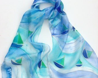 Blue Boats hand painted silk scarf.  Silk scarves.