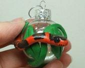 Corn Snake Christmas ornament mini glass ball Polymer clay