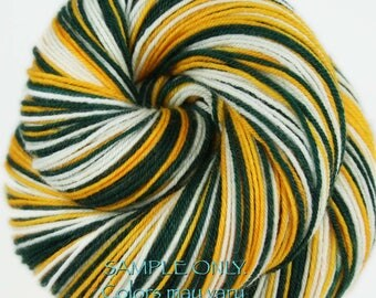 "Dyed to Order: Self-striping Sock Yarn ""GREEN GOLD WHITE"" Handdyed yarn - Football Baseball Sports School colors - Green Bay-Oakland-Seattle"