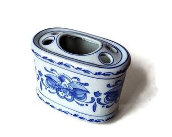 Vintage Blue and White Porcelain Toothbrush Holder - Bathroom Decor - Powder Room