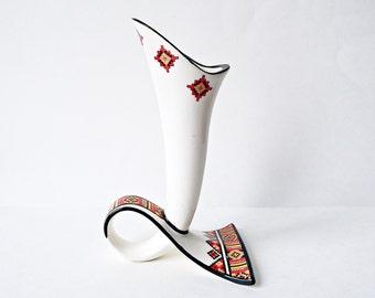 Marusha Vintage Vase with Unique Shape, Vintage Ukrainian Pottery, Vintage Red White Black Porcelain Vase