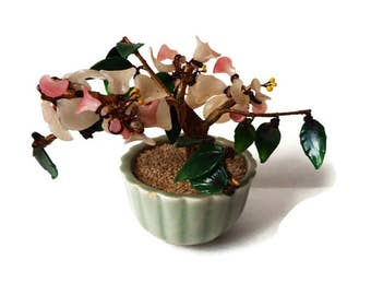 Vintage Glass Bonsai/ Wired Glass, Chinese Rose Quartz Tree/ Chinoserie/ Asian  Tree Figurine/ Pink and Green