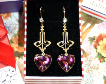 Vintage Nouveau heart valentine bridesmaid pinup purple crystal earrings