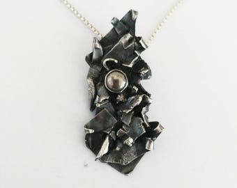 Melted Silver Pyrite Pendant