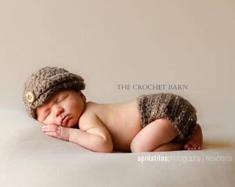 Newborn Infant Crochet Hat Diaper Cover Set Photography Prop