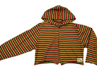 90s Club Kid Stipey Rainbow Cropped Hoodie. size s - m