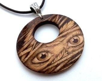 I See You Pixie Eyes Pyrography Woodland Pendant Necklace