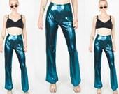 1990s ELECTRIC BLUE Wetlook Metallic High Waist Pants.  90's Grunge Mod Minimalist. 90's Does 70's. Size M.