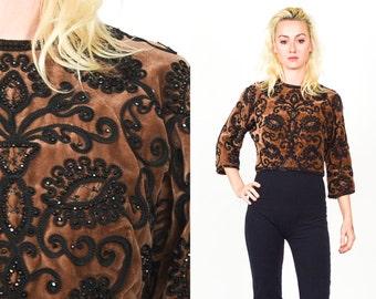 60's BROWN VELVET BEADED Paisley Crop Coat. Cropped Sleeves. Ornate Beaded Paisley Pattern . 60's 70's Brown Velvet Mod Minimalist Boho