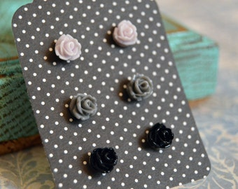 Tiny Rose Earrings Set - Gray and Black,  - Neutral Colors Flower Earring Studs