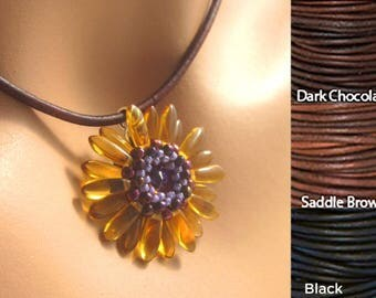 Bead Woven Flower Pendant Necklace Amber Glass Purple Seed Beads Women's Casual Jewelry Gift Peyote Stitch