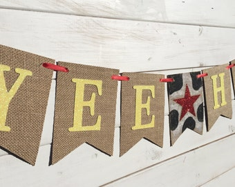 YEE HAW banner, birthday banner, photo prop, bedroom decor, western banner, cowhide, cowboy birthday, cowgirl birthday