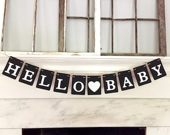 HELLO BABY banner, black and silver, baby shower banner, pregnancy announcement, nursery garland, gold glitter heart