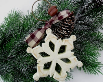 "Wood Snowflake Christmas Ornament Primitive Painted 6 1/4"" High"