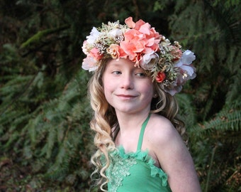 peach flower crown, READY TO SHIP, peach and vintage green tieback, maternity flower sash, ready to ship, toddler to adult