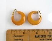 Yellow Bakelite Earrings - Vintage, Clip On