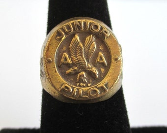 Junior Pilot - American Airlines AA Ring - Gold Tone Adjustable