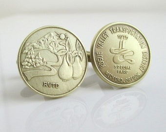Medford, OR Transit Token Cuff Links - Repurposed Vintage 1975 Rogue Valley Coins