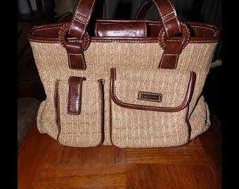 25% Off Sale Vintage Rossetti Woven Straw and Leather Purse/Handbag