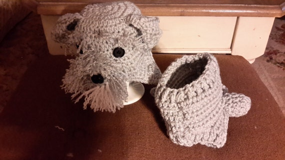 Schnauzer Hat and diaper cover set