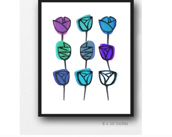 Gift for her, watercolor painting blue purple Floral painting, watercolor print, watercolor flowers