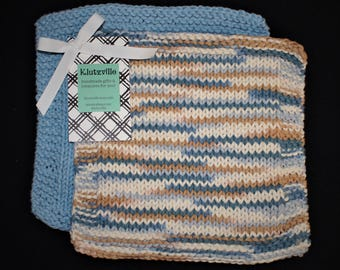 Hand Knit Cotton Wash Cloth Set of 2 Medium Blue and Seaside Stripes