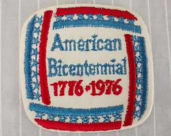 """Vintage Smaller Size 2.6"""" Sew On American Bicentennial Patch, 1776 1976 Patriotic Applique, Independence Day 4th July Collectible"""