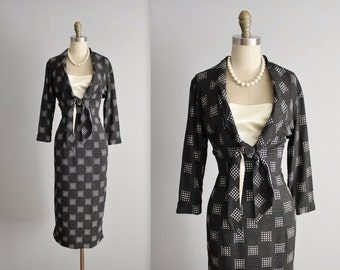 50's Dress // Vintage 1950's Charcoal Gray Fitted Designer Secretary Casual Day Dress M