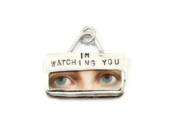 Meaningful Sterling Jewelry, Unusual Jewelry Gift For Women, Silver Courage Jewelry, Ceramic, Robin Wade Jewelry, I'm Watching You, 2342