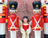 "Nutcracker Toy Soldier Christmas Blow Mold Pair: Set of Two Large (31"") Red & White Light Up Holiday Outdoor Lawn Ornaments in Uniforms,"