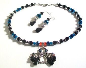 Swan Pendant, Black Pearl Necklace Set, Pendant Necklace Set, 2 Piece Set