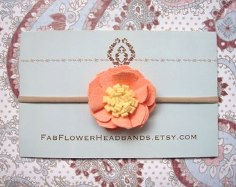 Peach Felt Flower Headband - Baby Headband - Newborn Headband - Girl Headband - Soft Nylon Band - One Size Fits All - Peach and Yellow
