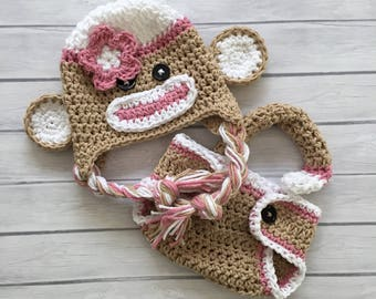 Pink sock monkey hat, diaper cover, newborn photo prop, sock monkey halloween costume, baby sock monkey hat, crochet baby hat, infant monkey