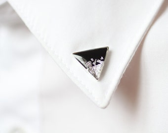 Black Silver Triangle collar brooch - Geometric collar pin - shirt accessory