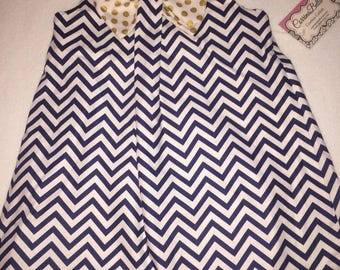 Navy Blue and white chevron summer dress or top